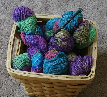 Knitting Basket, Knitting, Yarn, Variegated, Wool