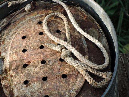 Rope, Colander, Metal, Fisherman, Fishing, Bucket, Bait