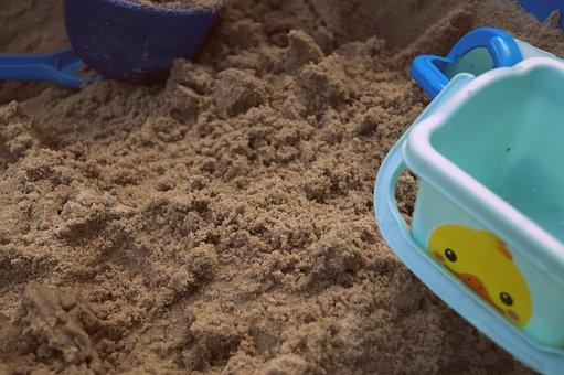 Sand Pit, Playground, Sand, Bucket, Children Bucket