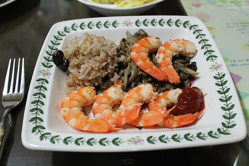 Shrimp, Cooking, Fusion Cuisine, Food, Rice, Mushrooms