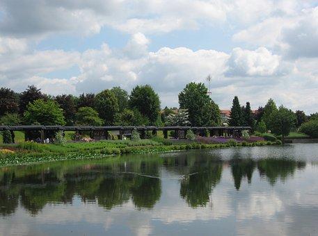 Weiskirchen, Saarland, Kurpark, Water, Pond, Portico