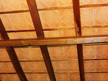 Terracotta Tiles, Ceiling, Pattern, Wooden Rafter