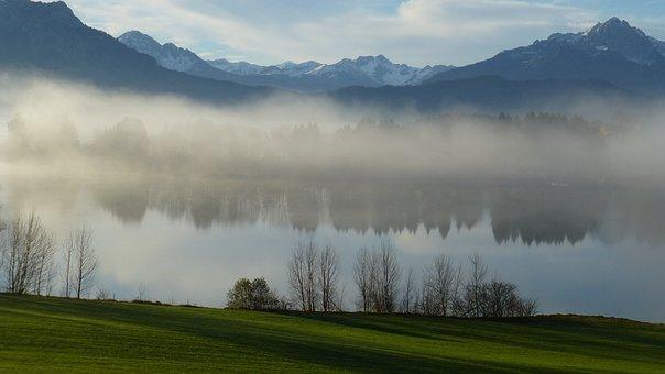 Allgäu, Lake Forggensee, Autumn, Fog, Tip Of The Miter