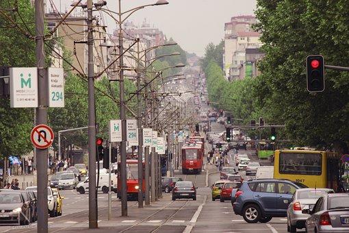 Tram, Street, Bulevar, City, Urban, Travel