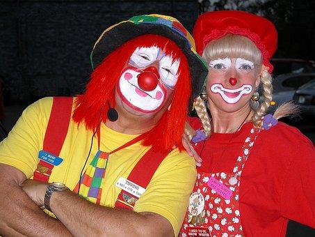 Colorful, Vibrant, Clowns, People, Amusement, Happy