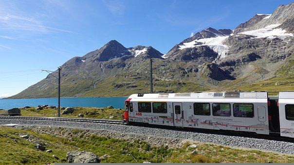 Train, Lake, Alps, Mountain Range, Alpine, Railroad