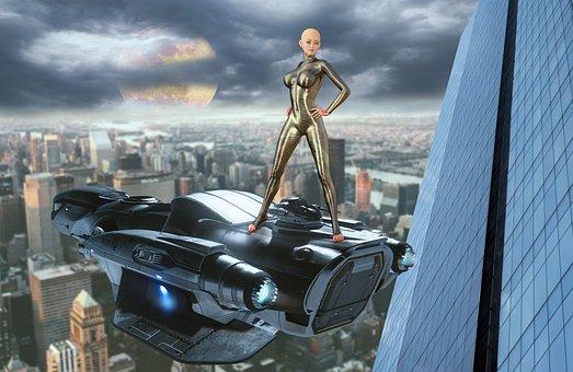 Building, Skyscraper, Spaceship, Android, Robot, City
