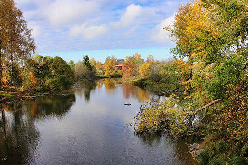 River, Trees, Autumn, Woods, Autumn Leaves