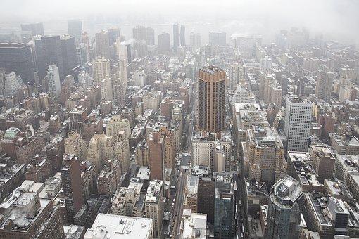 City, Buildings, Haze, Towers