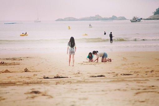 Sea, Beach, Kids, Children, Sand, Fun, Happiness, Smile