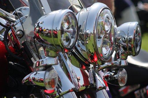 Lights, Motorcycle, Chrome, Motor, Motorbike, Bike