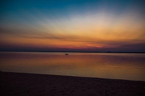 River, Dusk, Bank, Sand, Coast, Dawn, Water, Scenic