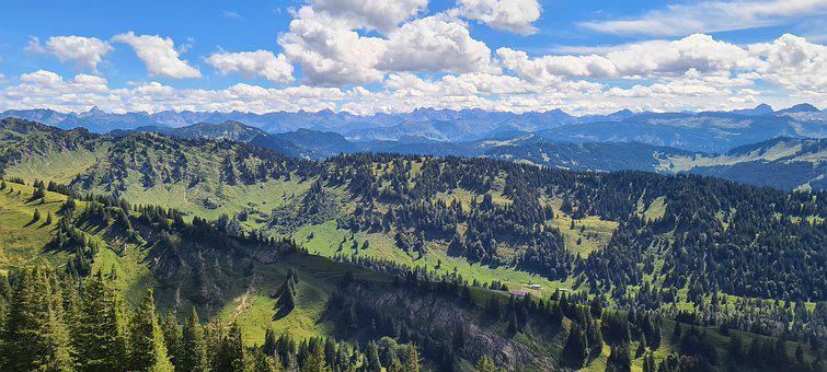 Mountains, Trees, Coniferous, Mountain Range, Valleys