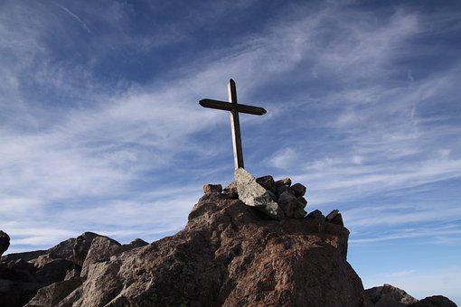 Cross, Mountain, Peak, Summit, Cliff, Rocks, Stones