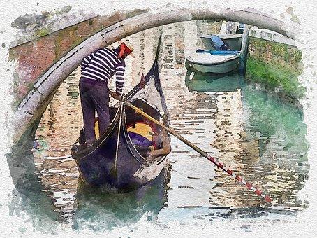 Bridge, Gondola, Painting, Watercolor, Gondolier