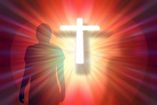 Cross, Person, Religion, Faith, Heart, Rays, Light