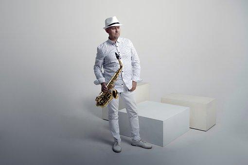 Man, Saxophone, Musician, Musical Instrument, Seat, Hat