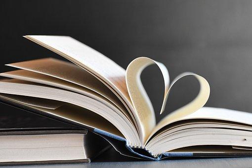 Books, Heart, Pages, Literature, Hardbound