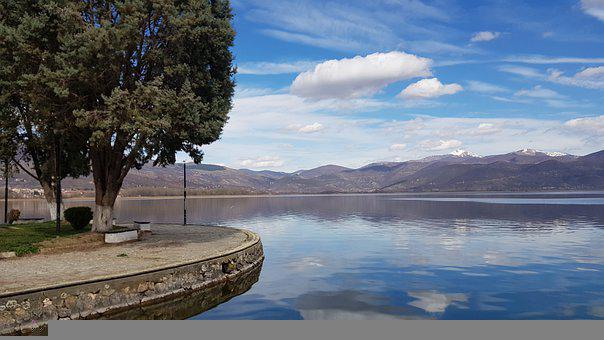 Lake, Mountains, Park, Trees, Pathway, City, Sky