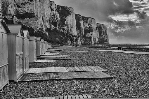 Beach, Houses, Pathway, Pebbles, Coast, Clouds, Storm