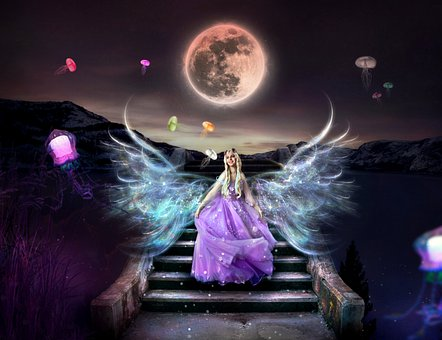 Princess, Dress, Wings, Stairs, Moon, Jellyfish