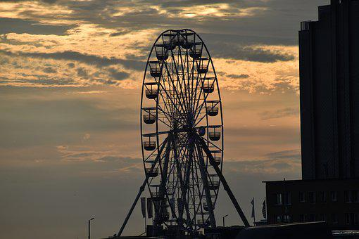 Ferris Wheel, Ride, Sunset, Wheel, Amusement Park