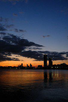 River, City, Dawn, Dusk, Sunset, Sunrise, Silhouette