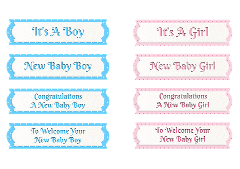 Baby Boy, Baby Girl, Tags, Sentiments, Greetings