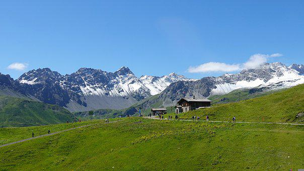 Alps, Fields, Mountain Hut, Snow Mountains, Alpine