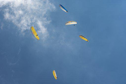 Paragliding, Parachutes, Flying, Flight, Sport