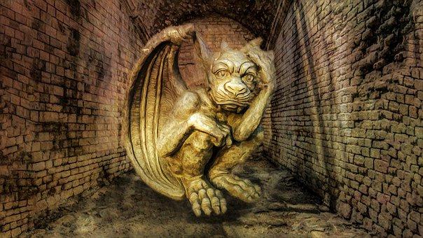 Statue, Gargoyle, Tunnel, Cave, Creepy, Dungeon, Castle