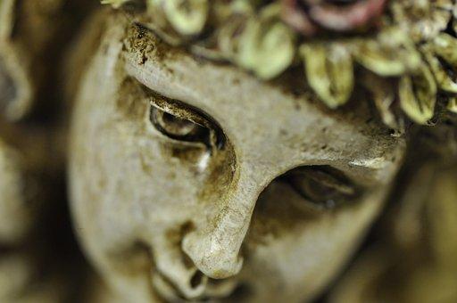 Statue, Sculpture, Figure, Angel, Face, Stone, Symbol