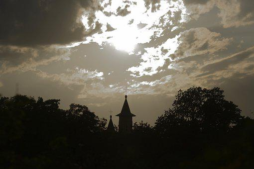Sunset, Trees, Church, Silhouettes, Dusk, Twilight
