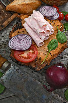 Appetizer, Ham, Tomatoes, Onions, Food