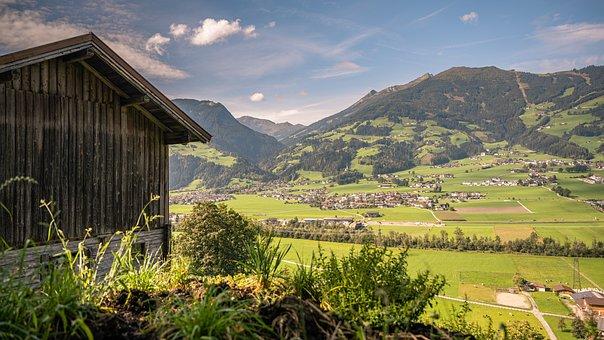 Mountain Hut, Mountains, Fields, Town, Village, Plains