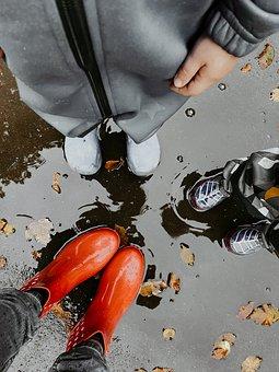Boots, Puddle, Rain, Family, Kids, Water, Rain Boots