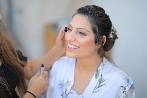 Woman, Bride, Smile, Make Up, Getting Ready, Lashes