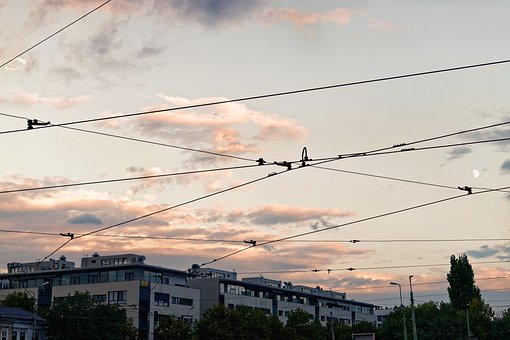Buildings, Sunset, Cables, Electrical Lines, Urban