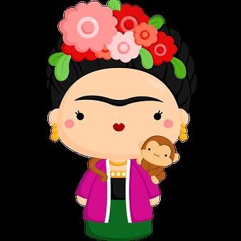 Woman, Cartoon, Clipart, Frida Kahlo, Painter