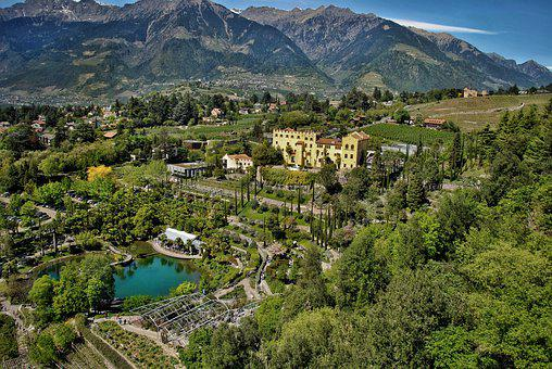Mountains, Castle, Forest, Trees, Lake, Pond, Tourism