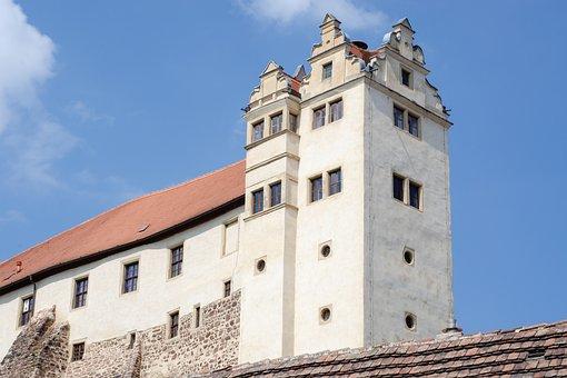 Castle, Building, Tower, Windows, Wall, Sky