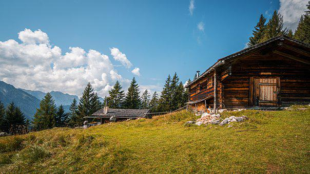 Mountain, Hut, Forest, Sky, Clouds, Scenic, Hiking