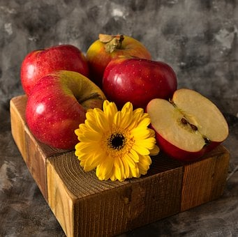 Apples, Flower, Still Life, Daisy, Gerbera