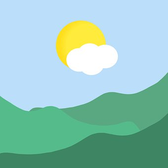 Sun, Flat Drawing, Mountains, Mountain Range, Icon