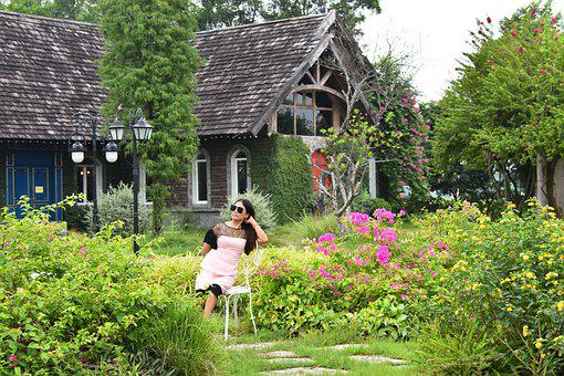 Girl, Garden, House, Lawn, Front Lawn, Lounging