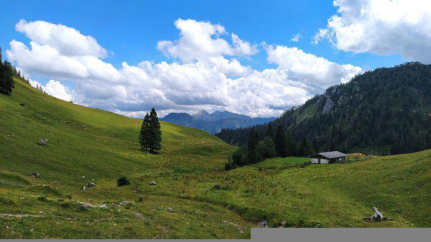 Mountain, Meadow, Landscape, Highland, Alpine, Alps