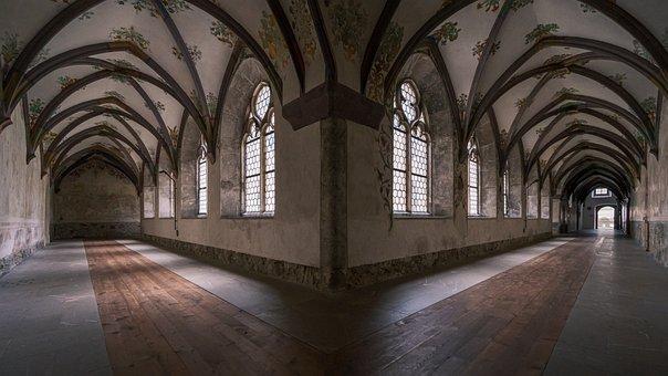 Monastery, Building, Corridor, Hallway, Alley, Windows
