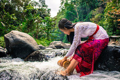 Woman, River, Fetching Water, Stream, Water, Nature