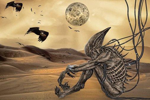 Desert, Creature, Birds, Vultures, Apocalypse, Nature