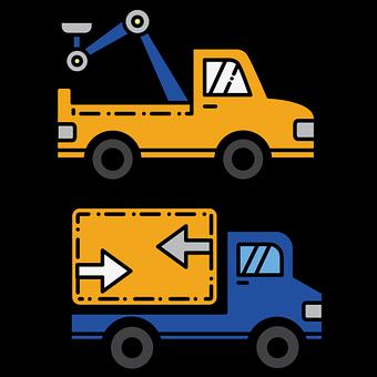 Trucks, Vehicles, Automobile, Automotive, Line Drawing